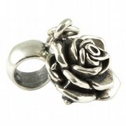 Rose Flower Head 3D Sterling Silver Dangle Charm / Carrier Bead